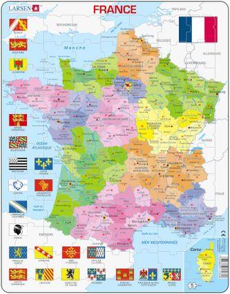 Mapy – Francúzsko, politická mapa s regiónmi a departmentmi a vlajkami regiónov – Zemepis, zemepisné puzzle