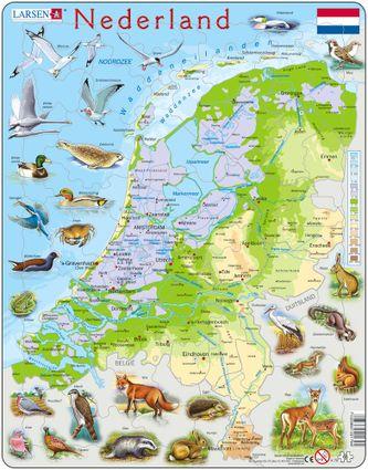 Mapy – Holandsko, fyzická všeobecno zemepisná mapa so zvieratami – Zemepis, zemepisné puzzle