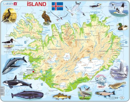 Mapy – Island, fyzická všeobecno zemepisná mapa so zvieratami – Zemepis, zemepisné puzzle