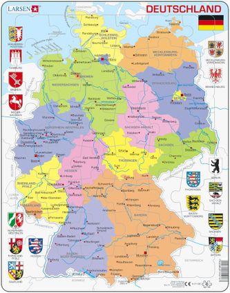 Mapy – Nemecko, politická mapa so spolkovými krajinami a znakmi, erbami spolkových krajín – Zemepis, zemepisné puzzle
