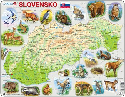 Mapy – Slovensko, fyzická všeobecno zemepisná mapa so zvieratami – Zemepis, zemepisné puzzle
