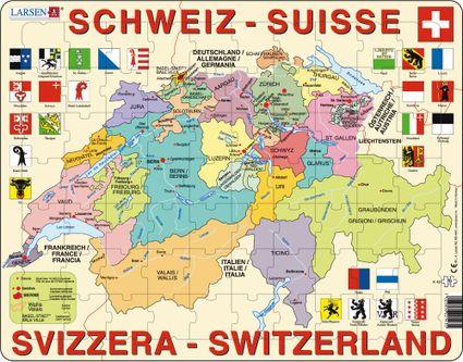 Mapy – Švajčiarsko, politická mapa s kantónmi a znakmi, erbami kantónov – Zemepis, zemepisné puzzle