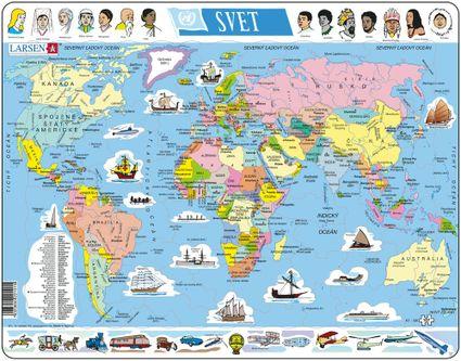 Mapy – Svet, politická mapa s loďami, dopravnými prostriedkami a ľuďmi – Zemepis, zemepisné puzzle