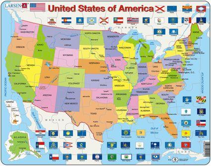 Mapy – USA, politická mapa s federálnymi štátmi a ich vlajkami – Zemepis, zemepisné puzzle